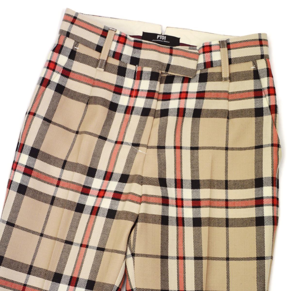 PT01 woman pants【ピーティーゼロウーノ】9分丈チェックパンツ HOLLY NB03 0060 ウール ベージュ レッド