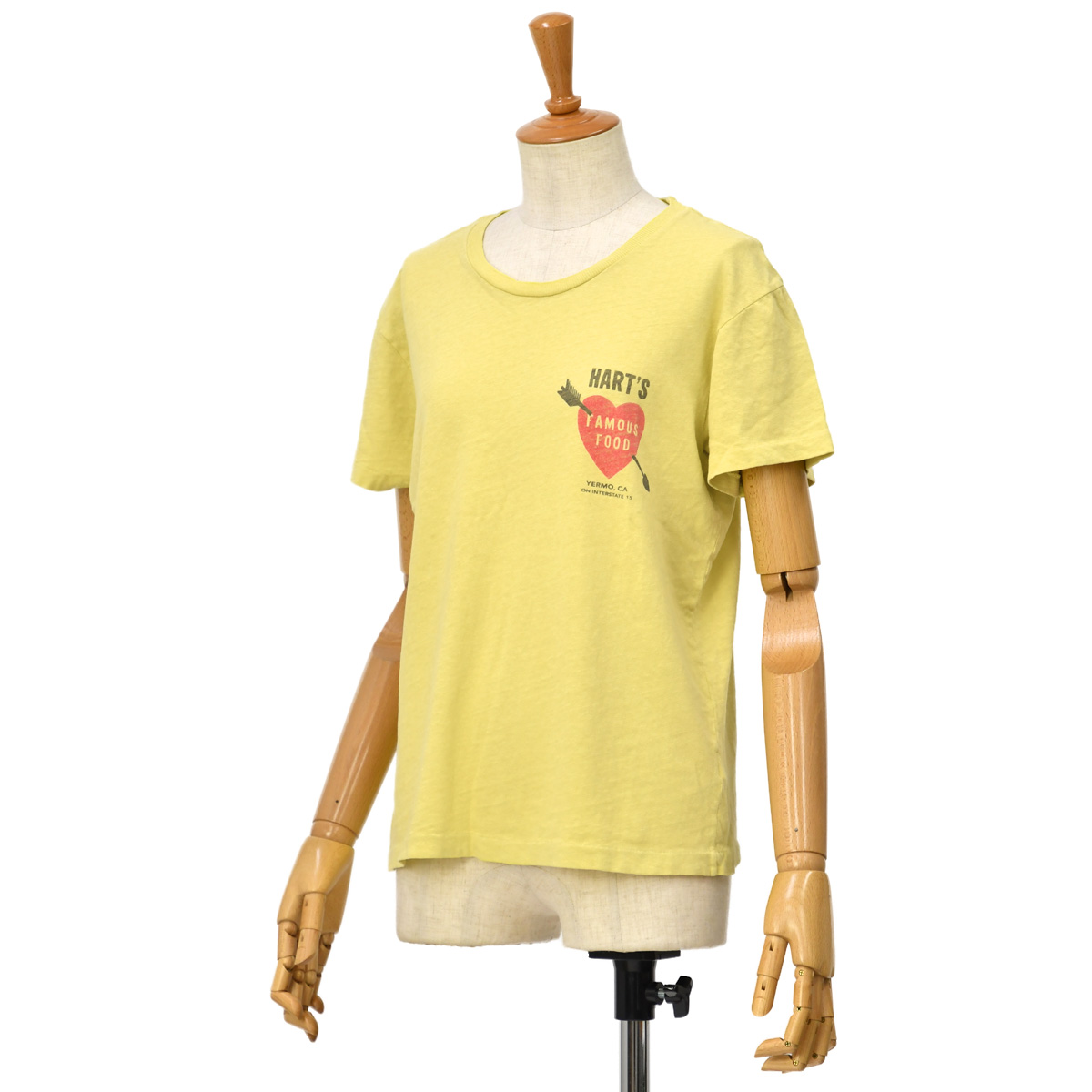 RE/DONE【リダン】半袖カットソー 024-2WLSTE1 FADEDLEMON 70S LOOSE TEE HARTS コットン イエロー