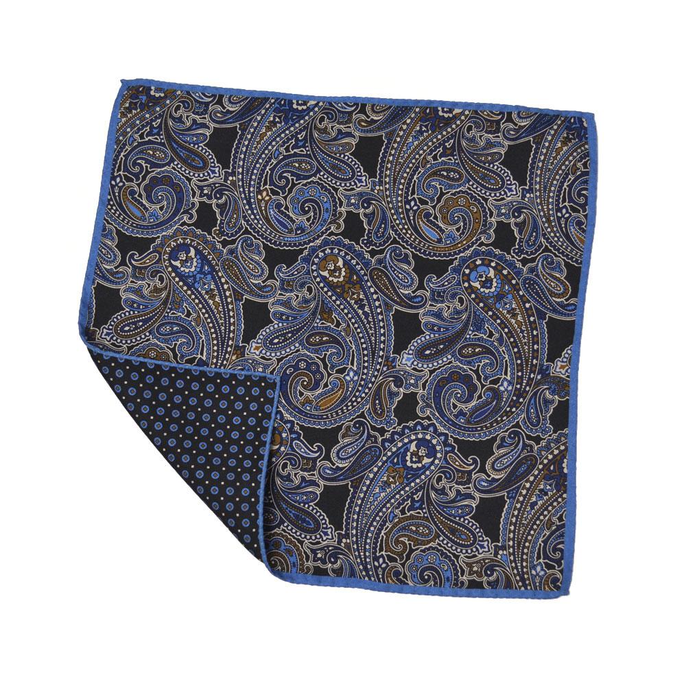 Altea【アルテア】チーフ 1768412 01 シルク ペイズリー 小紋柄 ブルー