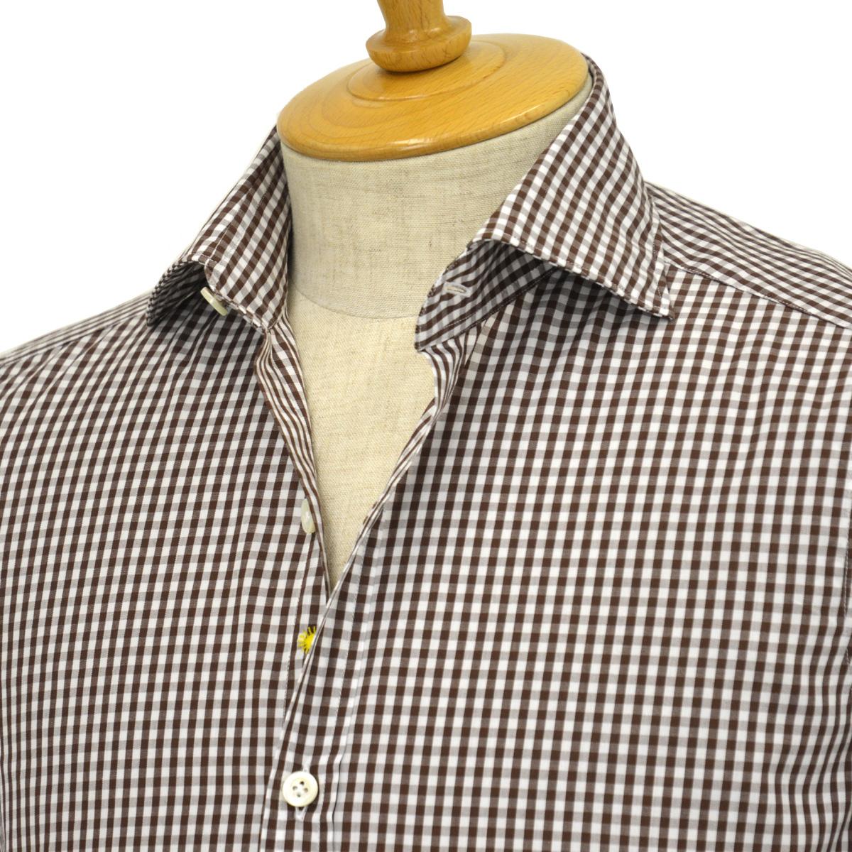 Giannetto【ジャンネット】ギンガムチェックシャツ VINCIFIT 8G26837V81 004 コットン ブラウン