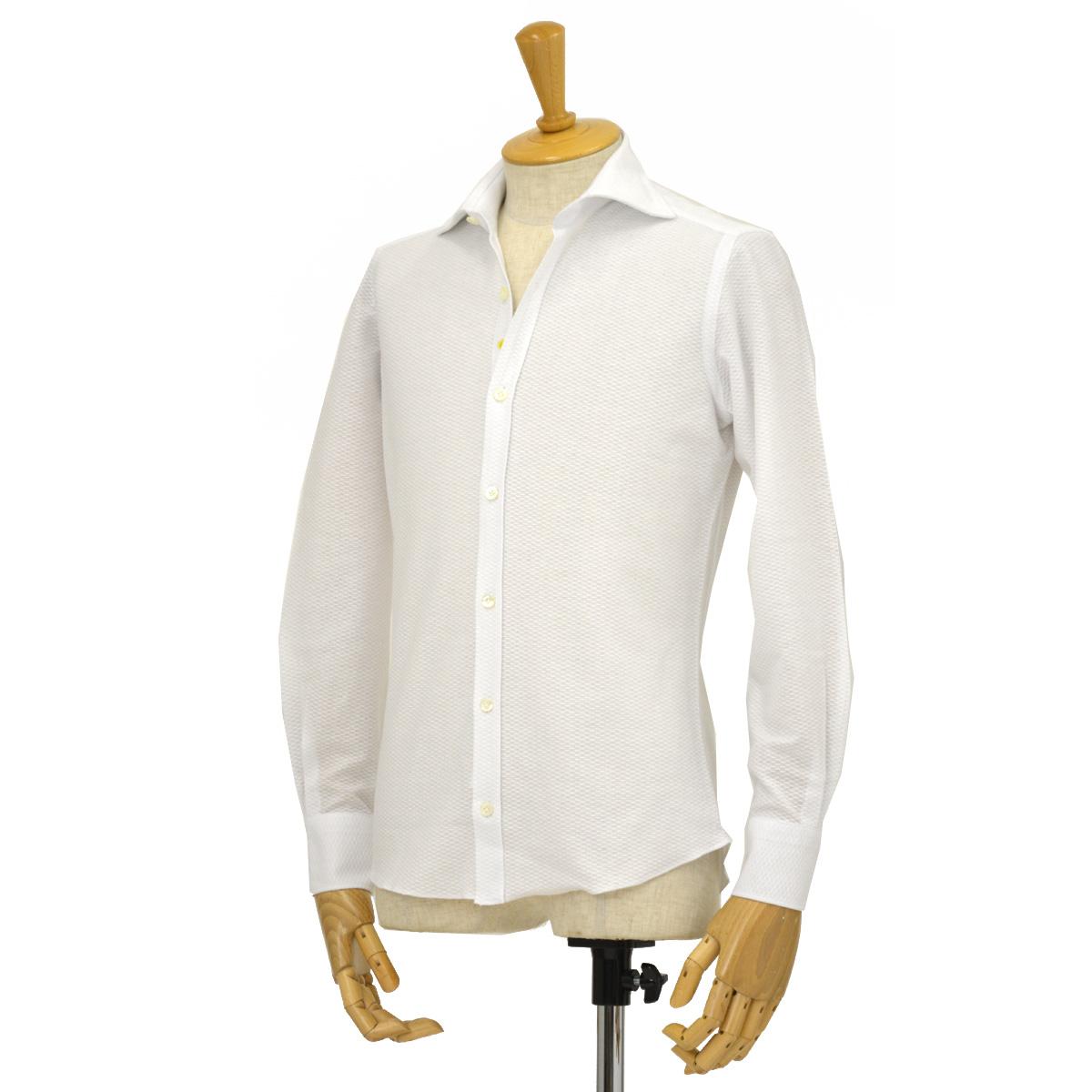 Giannetto【ジャンネット】折り柄ジャージーシャツ VINCIFIT 8G18637V81 002 コットン ホワイト