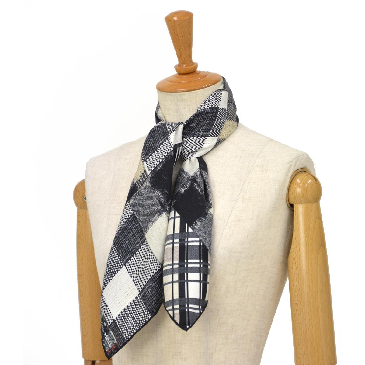Pierre Louis Mascia【ピエールルイマシア】スカーフ ALOE65 44070 シルク ブラック ホワイト