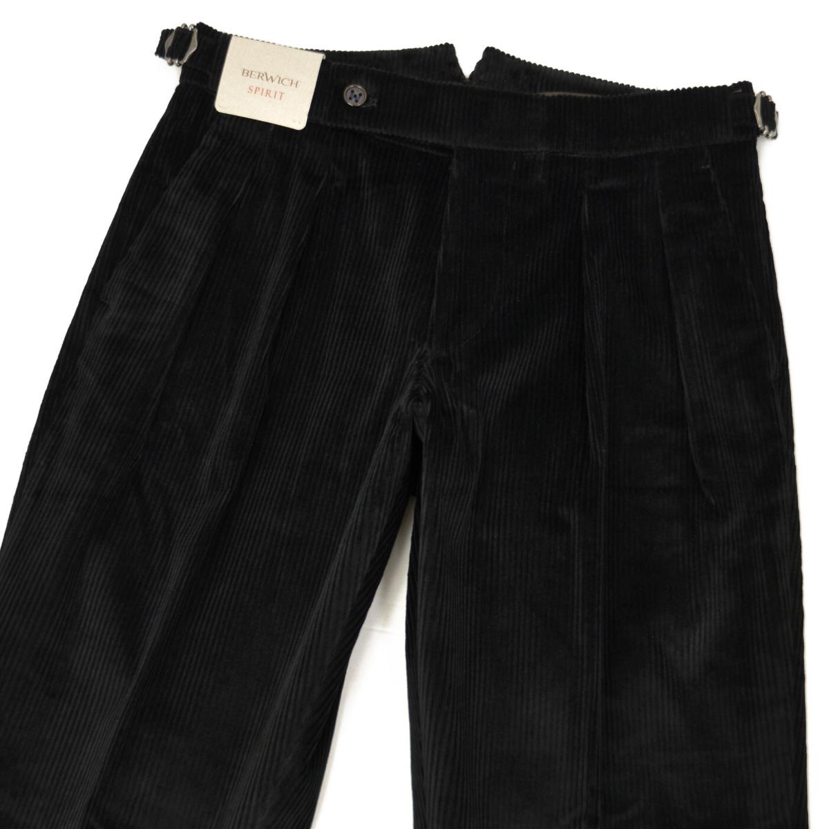 BERWICH【ベルウィッチ】ツープリーツパンツ SCOTCH DV1350X BLACK コーデュロイ ブラック