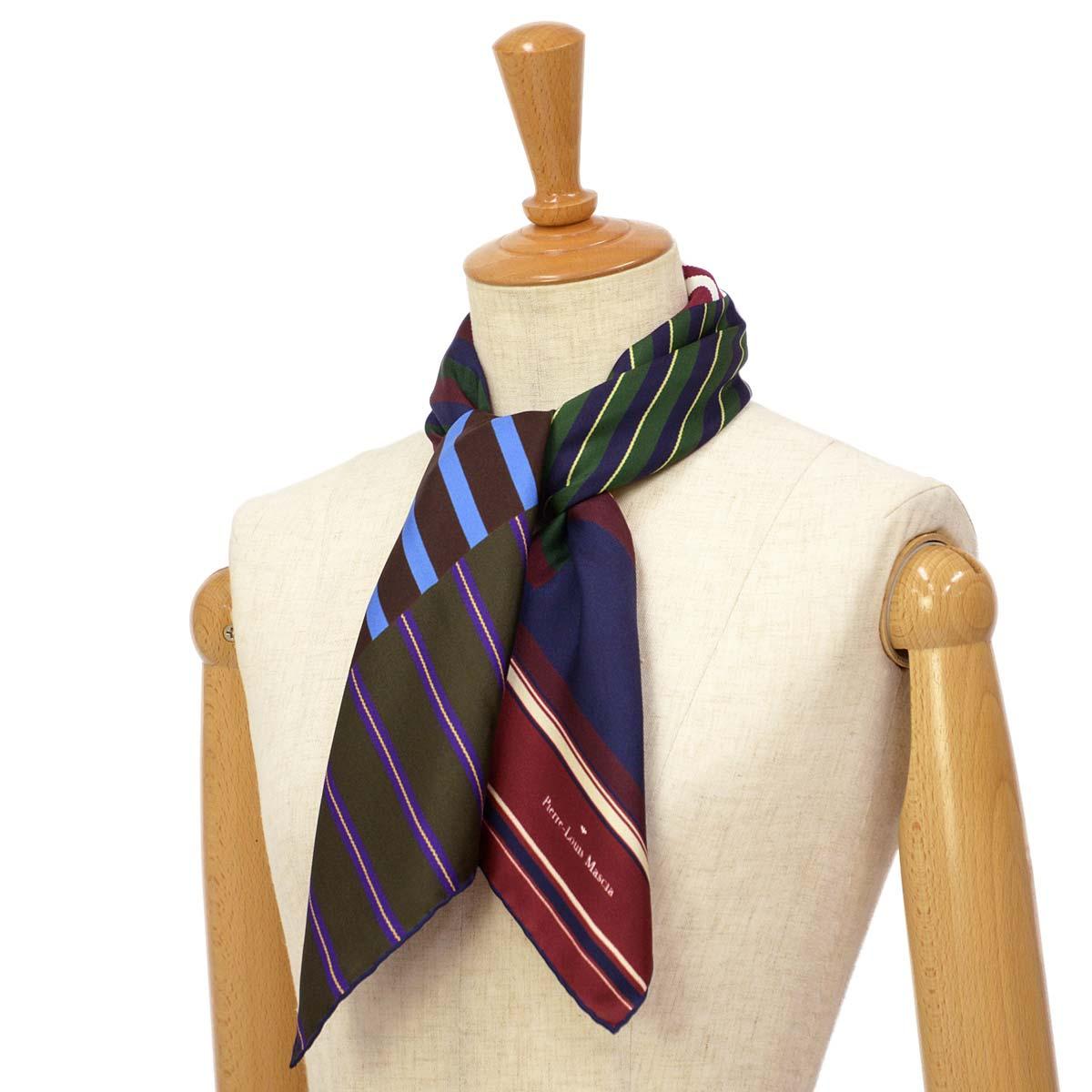 Pierre Louis Mascia【ピエールルイマシア】スカーフ ALOEUW67 45591 シルク ストライプ