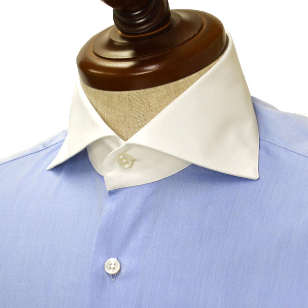 Maria Santangelo【マリアサンタンジェロ】ドレスシャツ VESVIO ENZO F348927 113 CC コットン クレリック ブルー