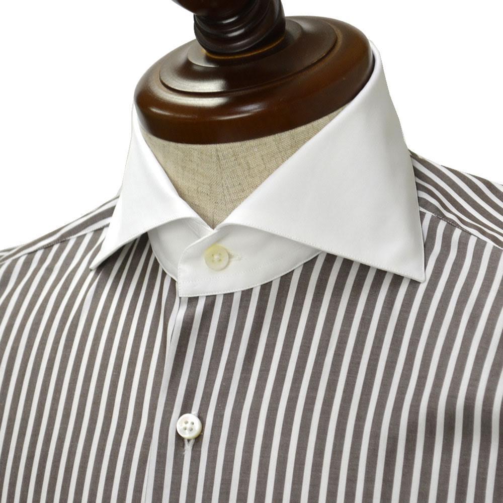 Maria Santangelo【マリアサンタンジェロ】ドレスシャツ VESVIO ENZO 58/9 コットン クレリック ストライプ ホワイト×ブラウン