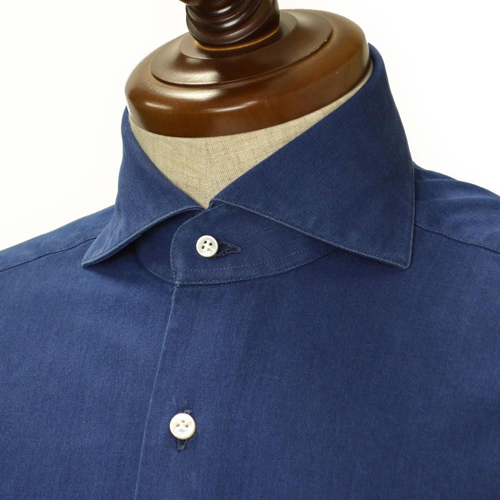 BARBA【バルバ】ドレスシャツ BRUNO I1U262519001U コットン ダンガリー インディゴ