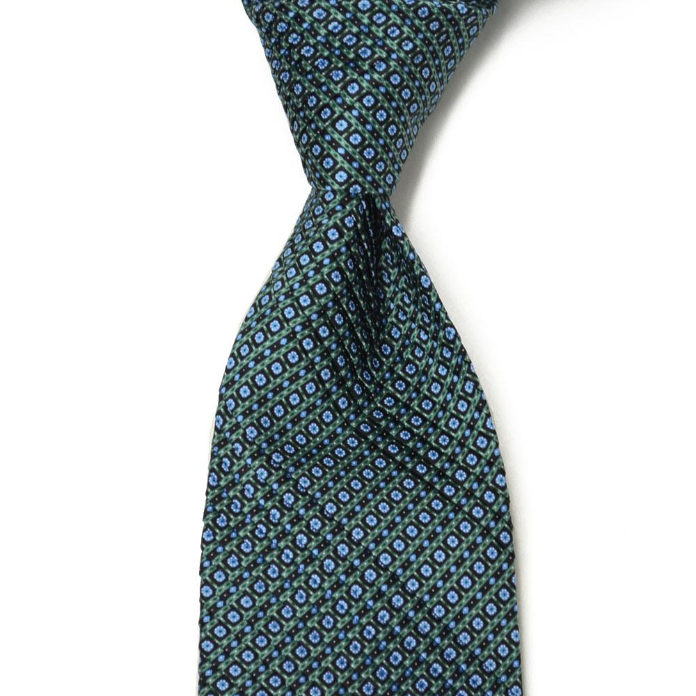STEFANO RICCI【ステファノリッチ】tie4143 プリーツネクタイ シルク 小紋柄 グリーン×サックス