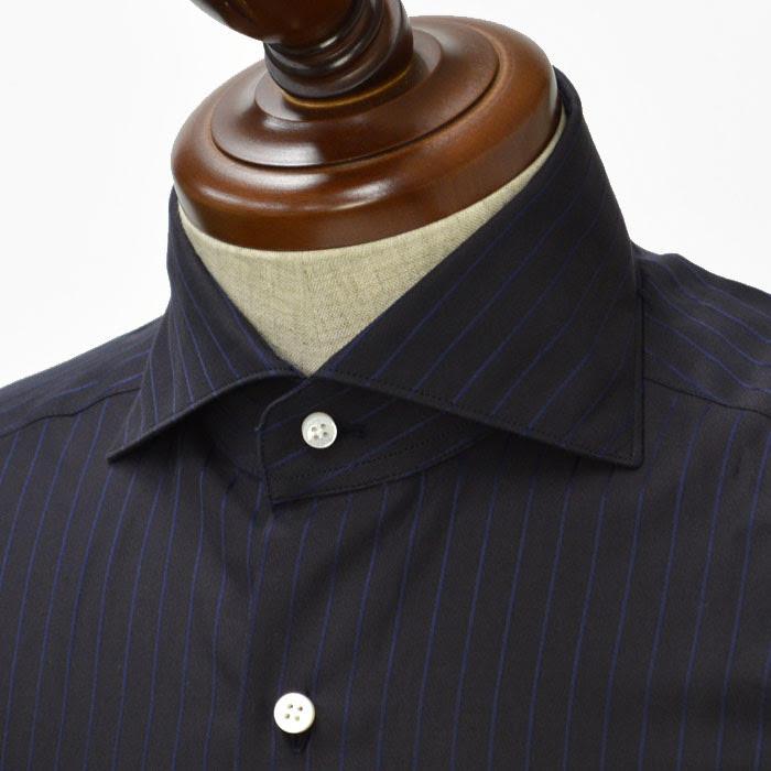BARBA【バルバ】ドレスシャツ BRUNO I1U262311402 コットン シャドーストライプ ブラック×ネイビー