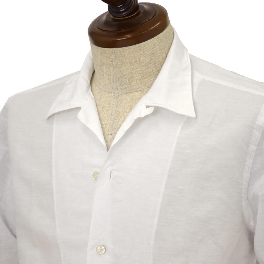 Finamore【フィナモレ】オープンカラーシャツ BART MILOS 080265 1 コットン リネン ホワイト
