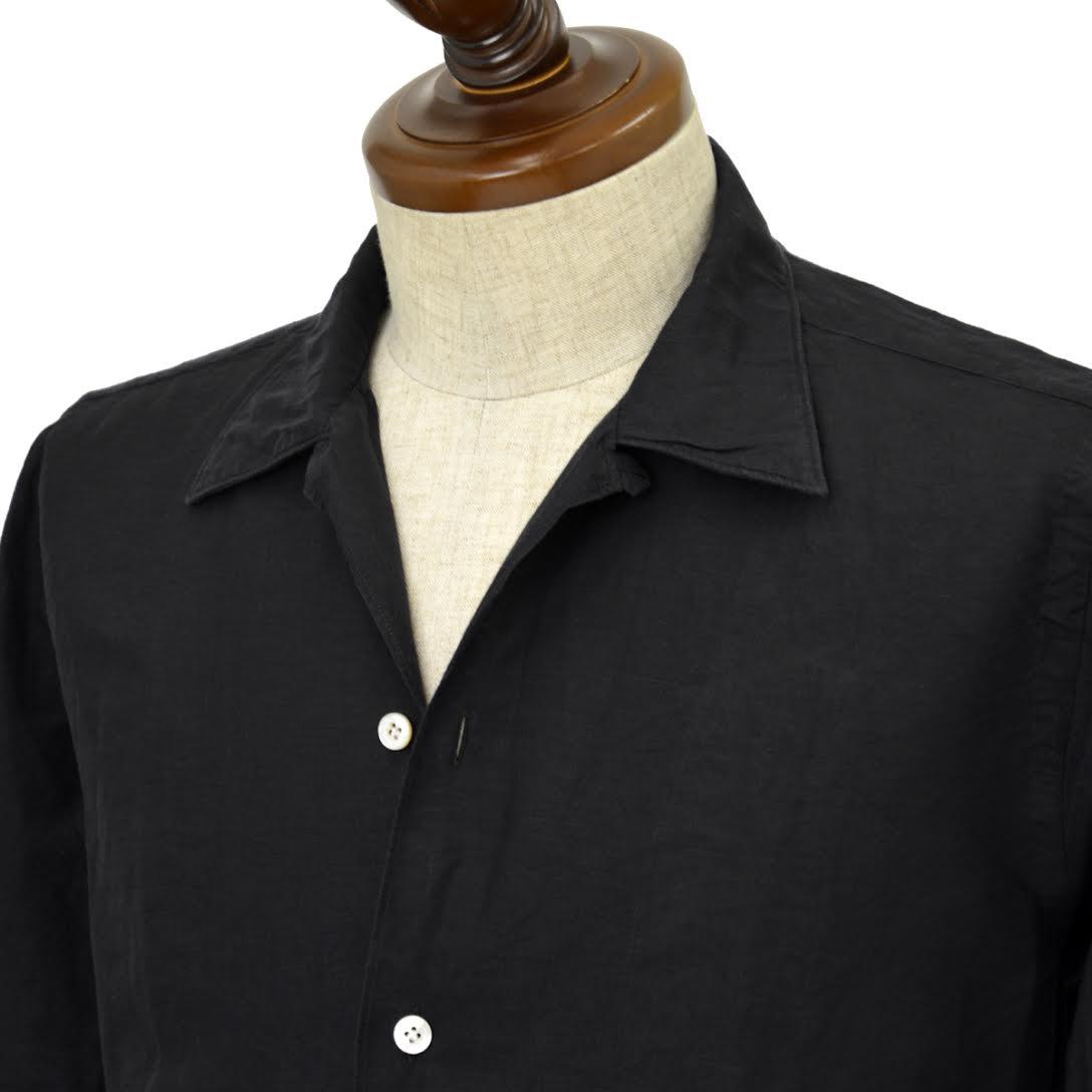 Finamore【フィナモレ】オープンカラーシャツ BART MILOS 080265 20 コットン リネン ブラック