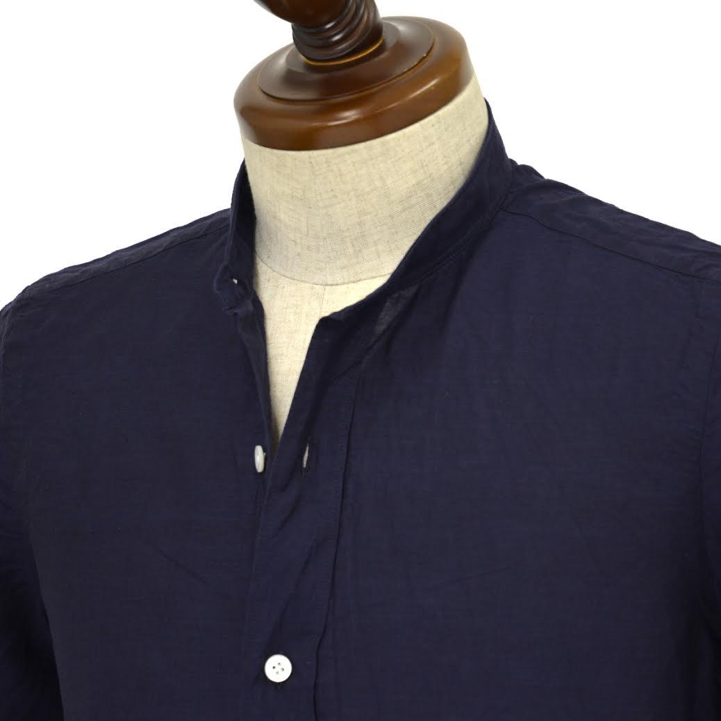 Finamore【フィナモレ】半袖バンドカラーシャツ GIGLIO LORENZO 080265 25 コットン リネン ネイビー