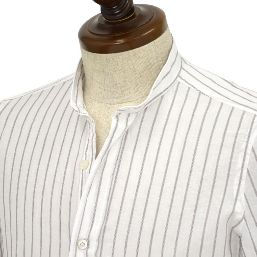Finamore【フィナモレ】半袖バンドカラーシャツ GIGLIO LORENZO 04469 1 コットン リネン ホワイトストライプ
