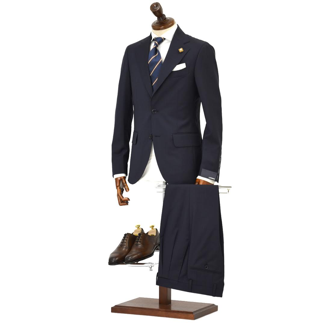 LARDINI【ラルディーニ】シングルスーツ ROW JM47005AQ EERP50490 14 ウール ピンドット ネイビー