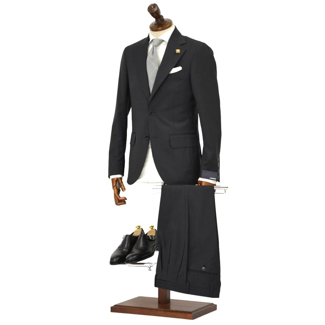LARDINI【ラルディーニ】シングルスーツ ROW JM47005AQ EERP50490 39 ウール ピンドット チャコールグレー