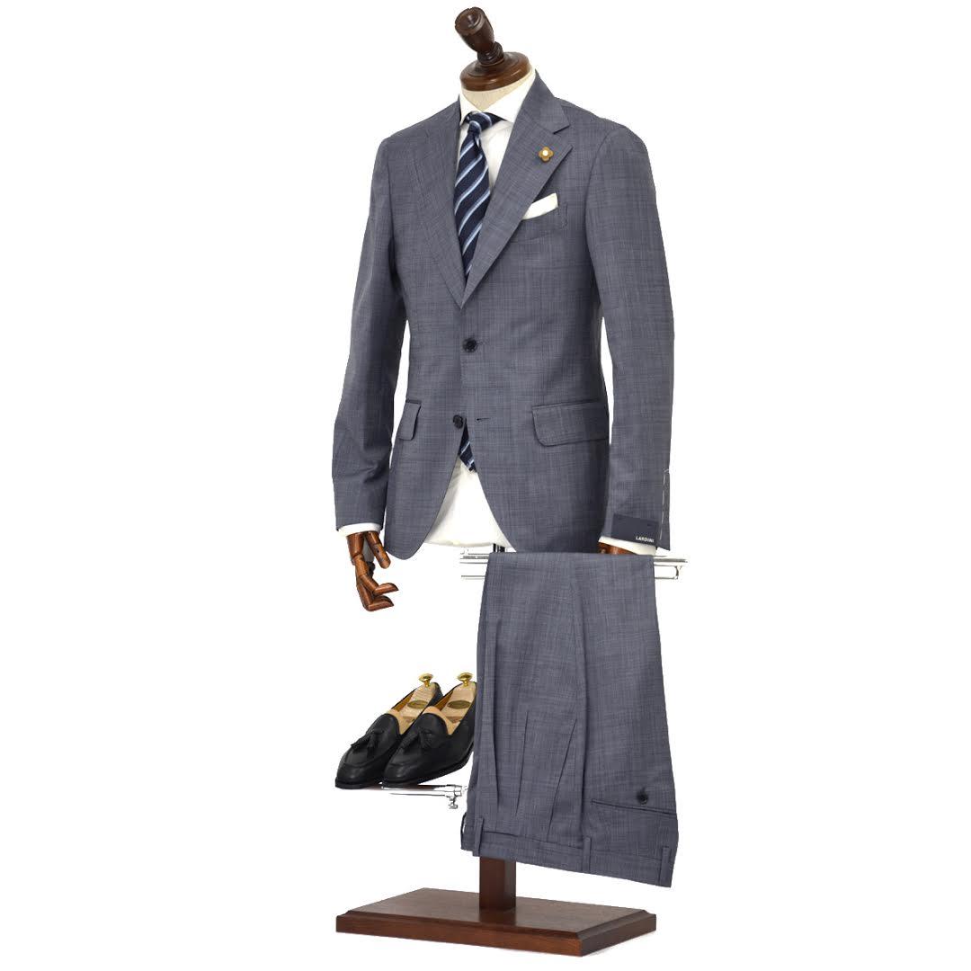 LARDINI【ラルディーニ】シングルスーツ ROW JM47005AQ EERP50490 46 ウール ピンドット ライトグレー