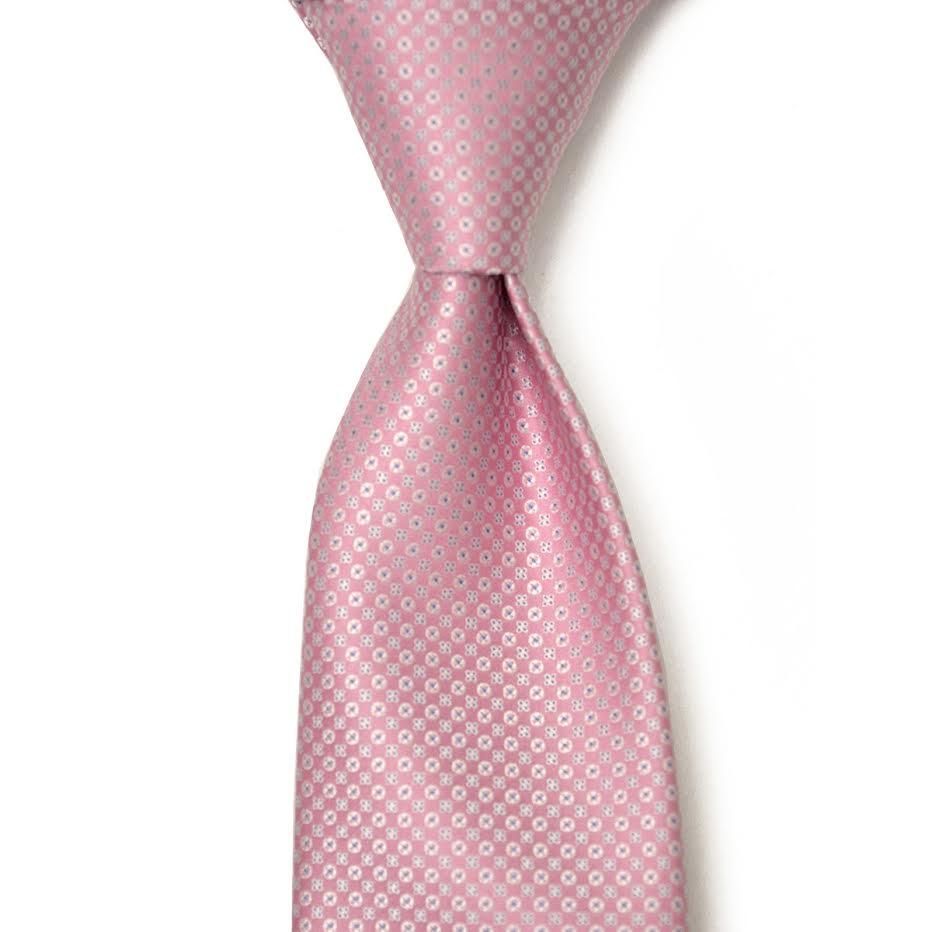 STEFANO RICCI【ステファノリッチ】28116 004 ネクタイ シルク 小紋柄 ピンク×ホワイト