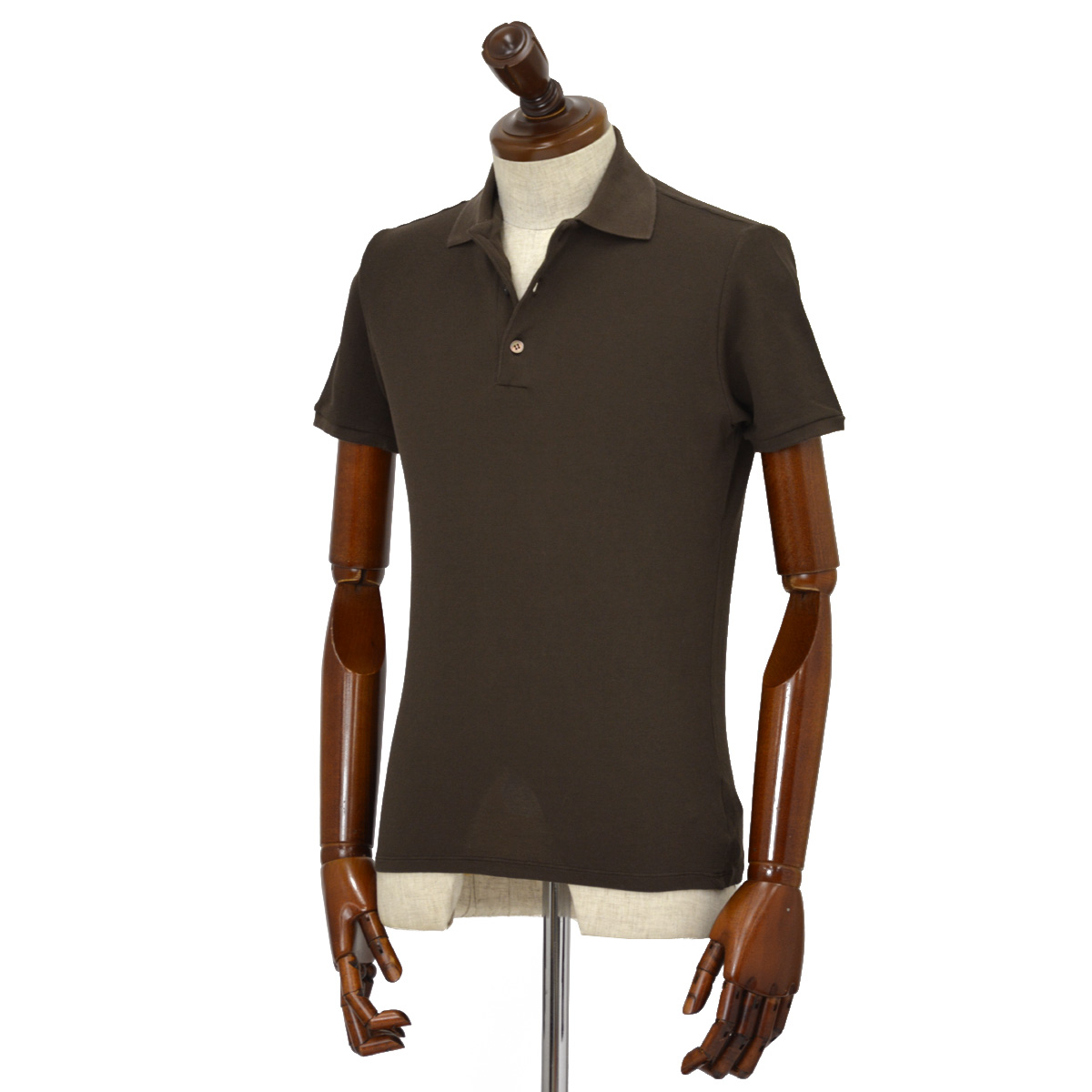 ZANONE【ザノーネ】ポロシャツ 812081 ZW370 Z4759 アイスピケ コットン ダークブラウン