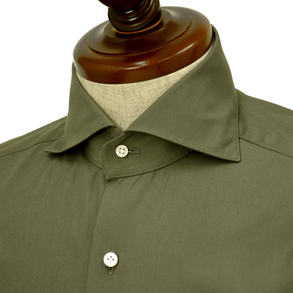 d112a78e33ec1 BARBA バルバ ドレスシャツ BRUNO I1U262U06278U フラシ コットン ブロード オリーブ