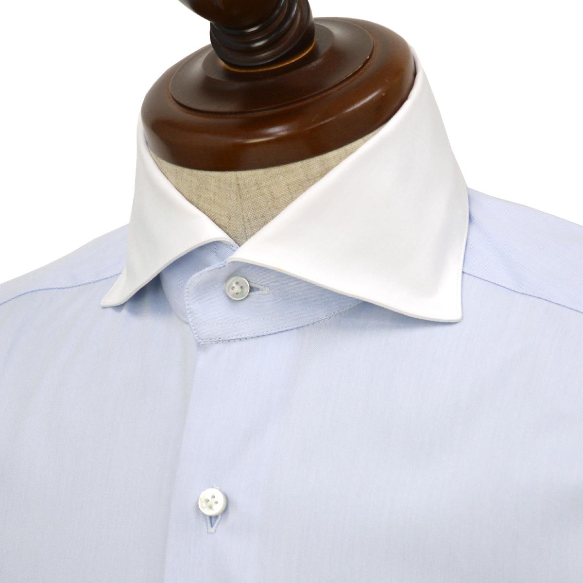 BARBA【バルバ】ドレスシャツ BRUNO I1U262552803U フラシ コットン クレリック ツイル ブルー×ホワイト