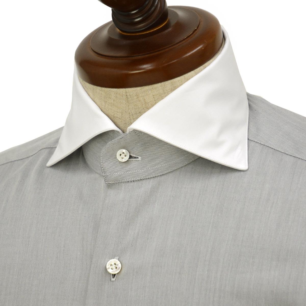 BARBA【バルバ】ドレスシャツ BRUNO I1U262552806U フラシ コットン クレリック ツイル グレー×ホワイト