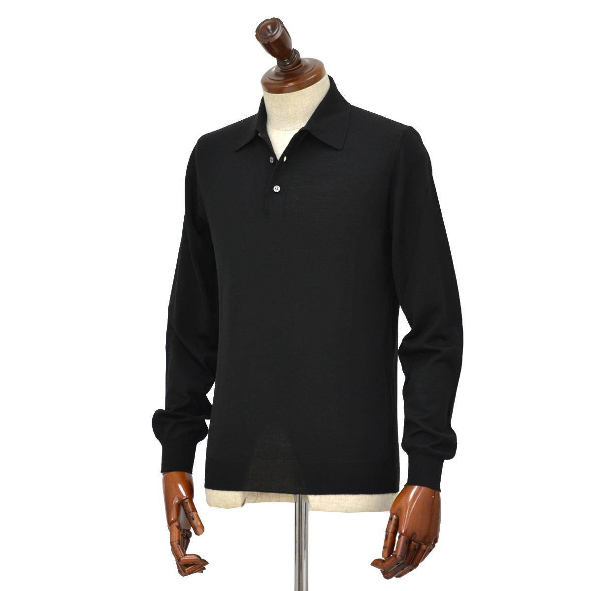 FEDELI【フェデーリ】ハイゲージニットポロシャツ SPORTMAN M.L. LANA 140 7 ウール ブラック