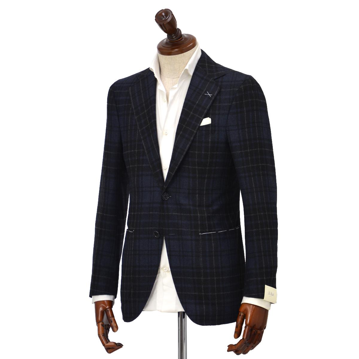 De Petrillo【デ ペトリロ】シングルジャケット Posillipo TW19209F/483 ウール チェック ネイビー×グレー