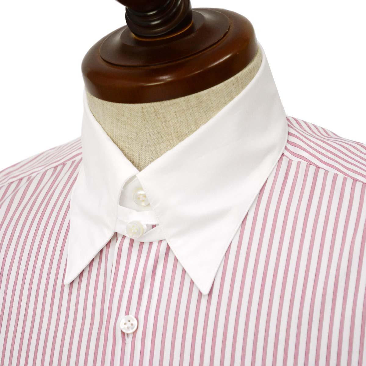 Maria Santangelo【マリアサンタンジェロ】ドレスシャツ TAB PIUM TWILL F357135 35BB コットン ストライプ クレリック ピンク×ホワイト