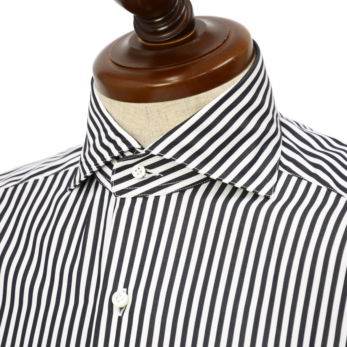 BARBA【バルバ】ドレスシャツ BRUNO I1U262593302U フラシ コットン ロンドンストライプ ブラック×ホワイト