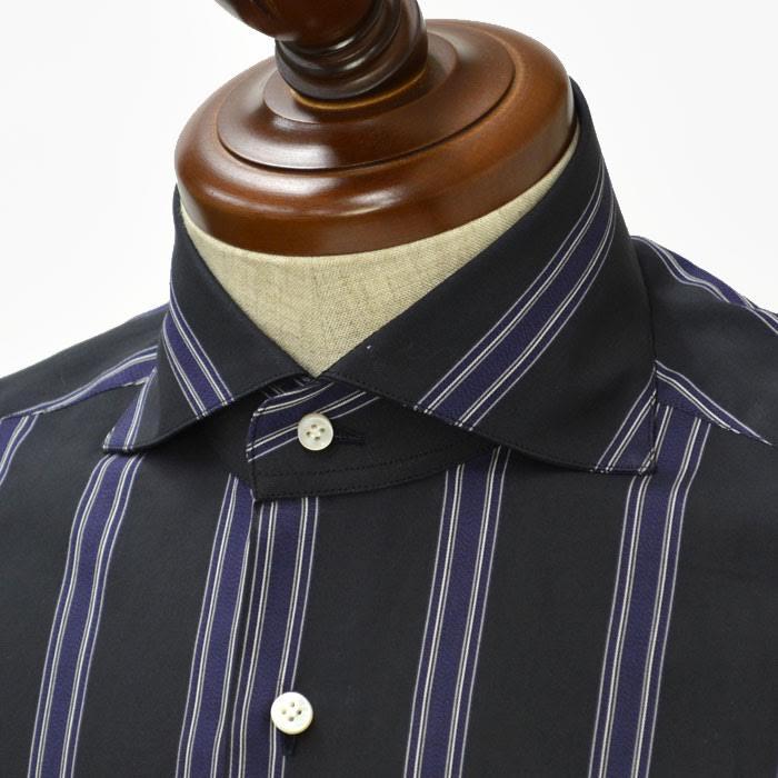 BARBA【バルバ】ドレスシャツ I BRUNO I1U262291515 コットン ストライプ ブラック×ダークパープル