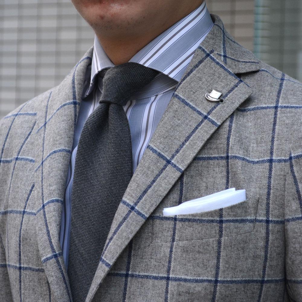 TAGLIATORE 싱글 재킷 1SMC22K/07WIG108/T1005 MONTECARLO wool silk WINDOWPANE GRAY×NAVY (카를로 모직 실크 ウィンドペーン 그레이 * 네이 비)