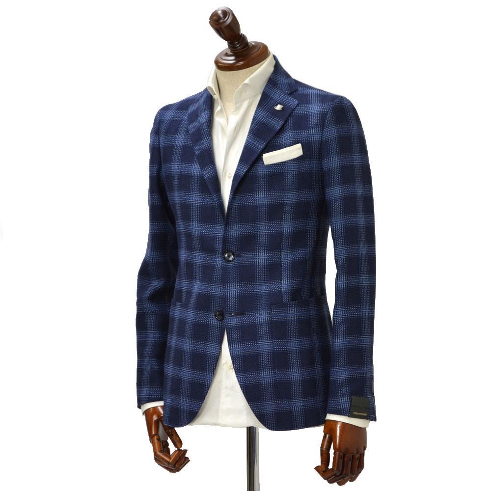 TAGLIATORE【タリアトーレ】シングルジャケット 1SMC22K 12QEG23 I3355 MONTECARLO モンテカルロ ヴァージンウール リネン チェック ネイビー×ブルー