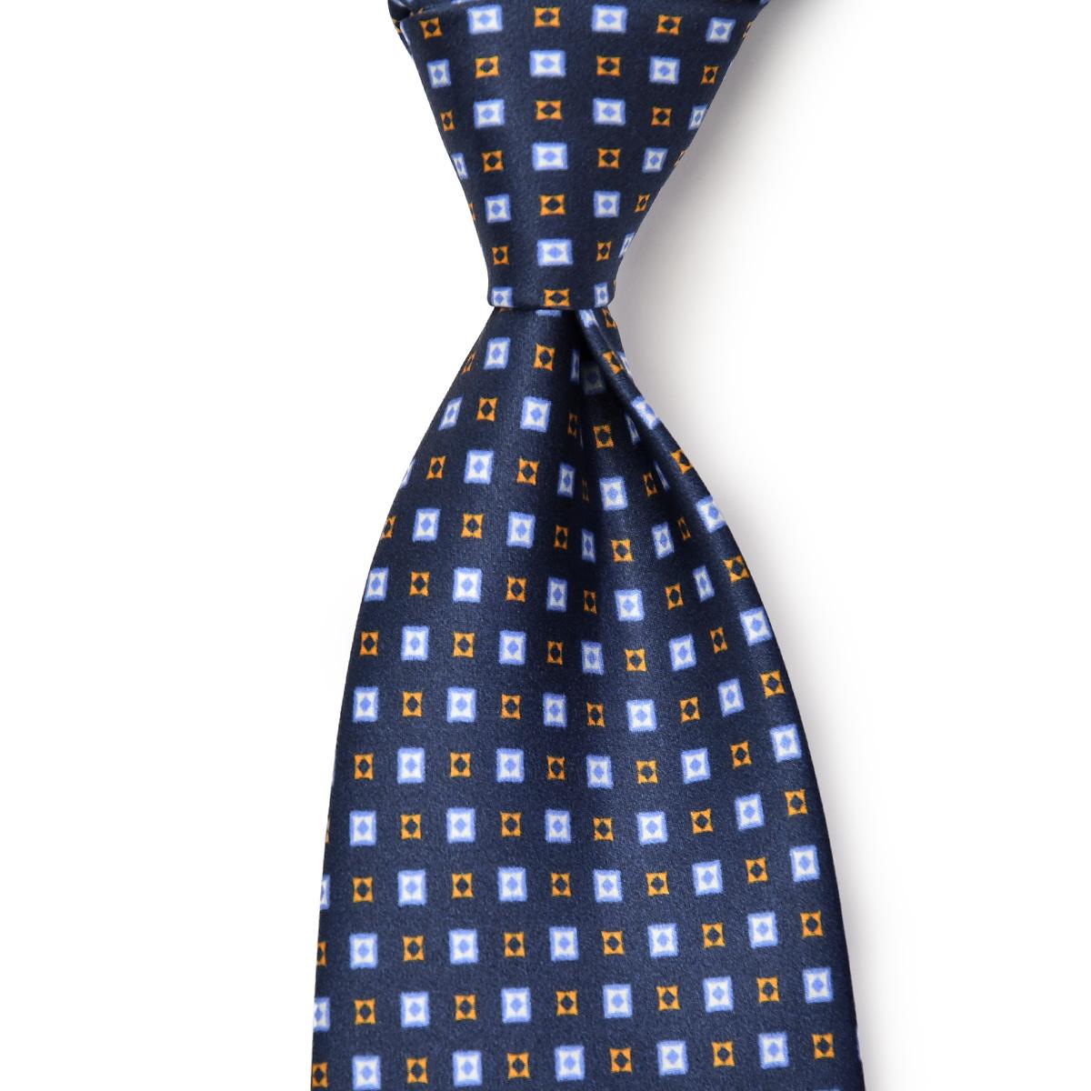 DOLCEPUNTA【ドルチェプンタ】シルクタイ TIE-P2023 6 セッテピエゲ シルク 小紋 ネイビー ブルー