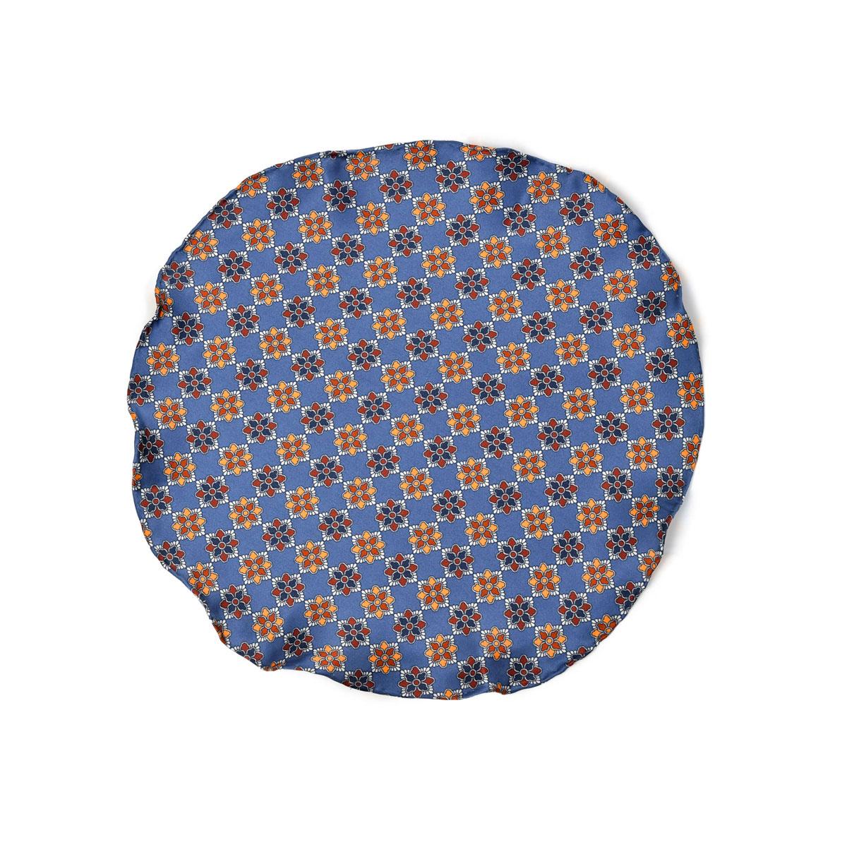 DOLCEPUNTA【ドルチェプンタ】ポケットチーフ 31×31 FAZZOLETTO-P2022 5 シルク 小紋 フラワー ブルー