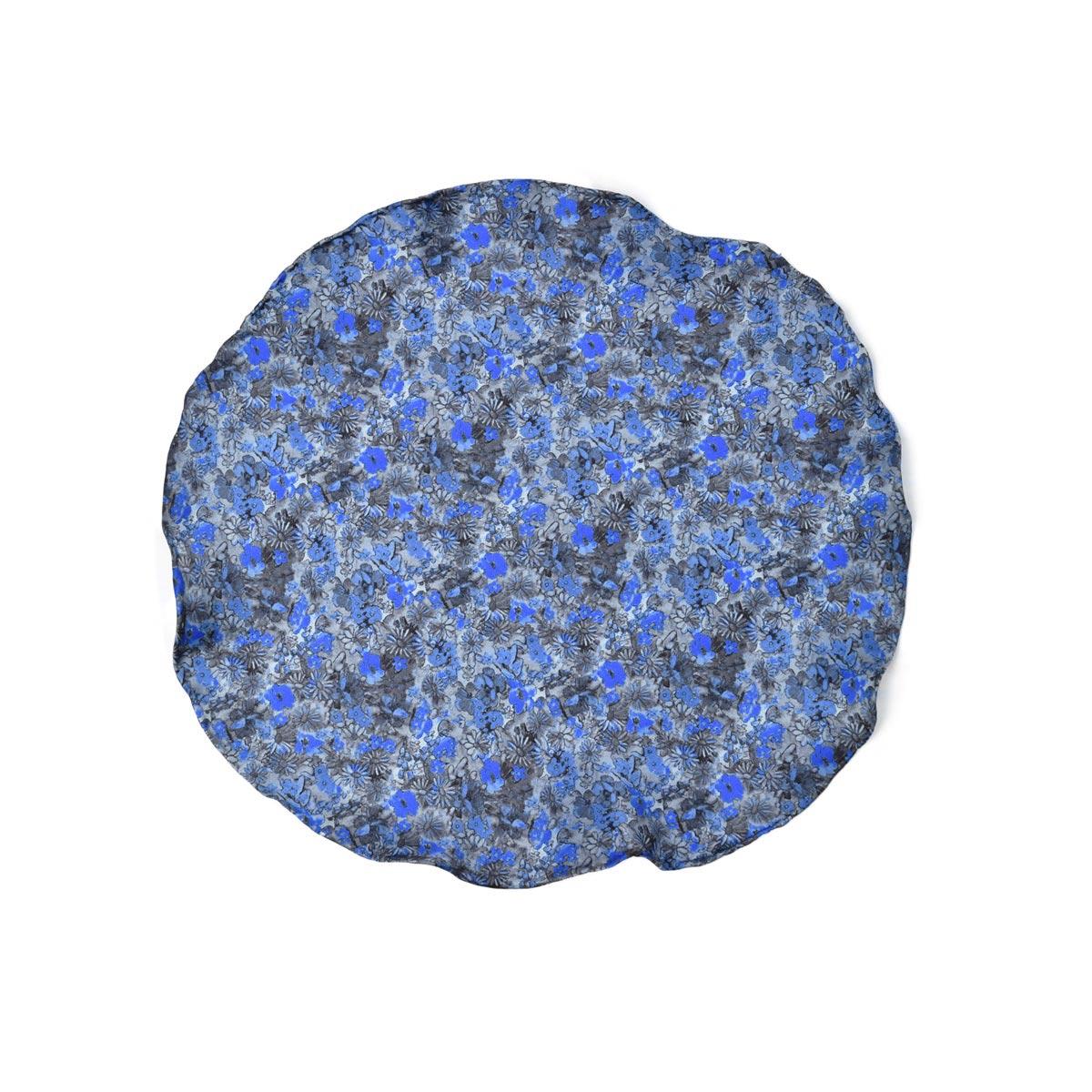 DOLCEPUNTA【ドルチェプンタ】ポケットチーフ 31×31 FAZZOLETTO-P2001 6 シルク フラワー ブルー