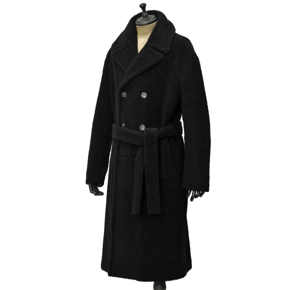 Solleciti【ソレシティ】ベルテッドコート DOUBLE MAN COAT CSM0C80222709000 BLACK キャメル シルク ブラック