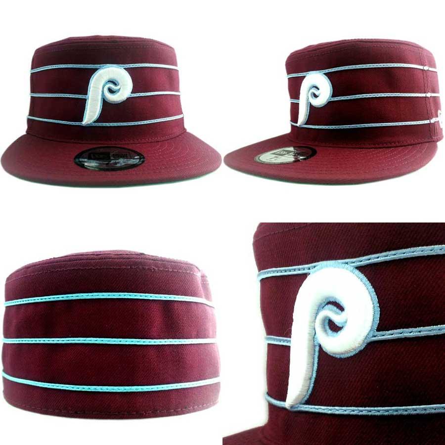 뉴 에러 캡 MLB 피르복스피라데르피아피리즈와인렛드/화이트 New Era Cap MLB PILL BOX Philadelphia Phillies Wine Red/White