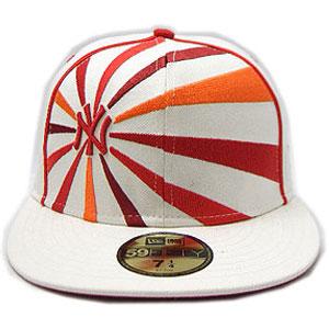 New Era CAP PIPING RISING SUN New York Yankees WHITE/RED/ORANGE 뉴 에러 캡 피핑 라이징 선 뉴욕 양키스 화이트/레드/오렌지