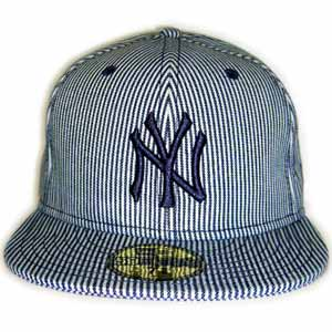 New Era Cap DENIM New York Yankees RAILROAD PINSTRIPE BlueDenim/Navy 뉴 에러 캡 데님 뉴욕 양키스 레일 로드 핀 스트라이프 블루 데님/네이비