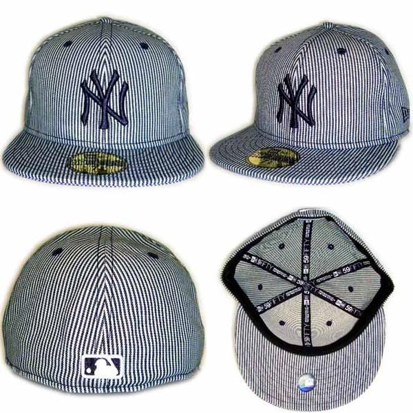 New Era Cap DENIM New York Yankees RAILROAD PINSTRIPE BlueDenim/Navy新埃拉盖子粗斜纹布纽约扬基队轨道道路大头针条纹蓝色粗斜纹布/深蓝