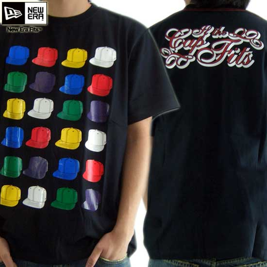 New gills S/S T-shirt multi-cap tea black / multi-New Era S/S TEE Shirts MULTICAP TEE Black/Multi