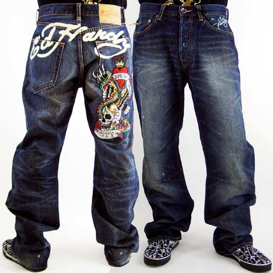 Ed Hardy Mens Denim Jeans Tammy NYC Sign Pocket Fonda Wash エドハーディー メンズ デニム ジーンズ タミー ニューヨークシティー サイン ポケット フォンダウォッシュ【_近畿】【_中国】【_四国】【_九州】