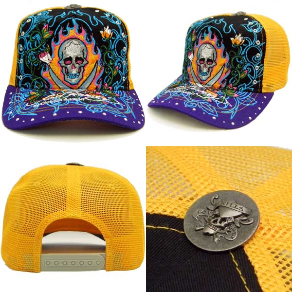 에도 하디 라인 돌 캡 13 스컬 블랙/옐로우/퍼플 ED HARDY Rhinstone Cap 13 Skull Black/Yellow/Purple
