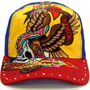 에드하디라인스토캐프이그르스카르이에로/로열/레드 ED HARDY C54GEM057 Rhinstone Cap Eagle Skull Yellow/Royal/Red