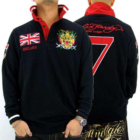 Ed Hardy Mens England L/S Polo Jersey Black エドハーディー メンズ イングランド L/S ポロジャージ ブラック 【_近畿】【_中国】【_四国】【_九州】