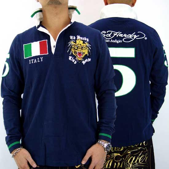 Ed Hardy Mens Italy L/S Polo Jersey Navy エドハーディー メンズ イタリア L/S ポロジャージ ネイビー 【_近畿】【_中国】【_四国】【_九州】