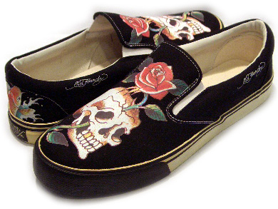 243f7b033 ED HARDY DECKS SNEAKERS SKULL ROSE TEXTILE RUBBER Black Edo Hardie deck  sneakers scull Rose textile ...
