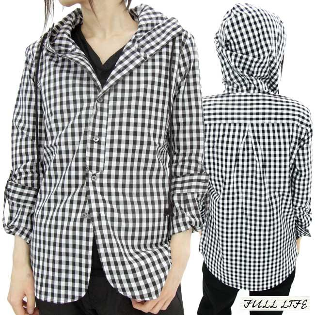 전체 라이프 푸 디 디자인 셔츠 블랙/검사 FULL LIFE Hoodie Hood Shirt Design Black/Check