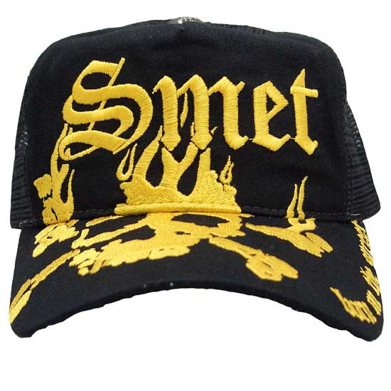 SMET SKULL FLAM HAT Black Yellow 스멧트스카르후레임핫트브락크이에로