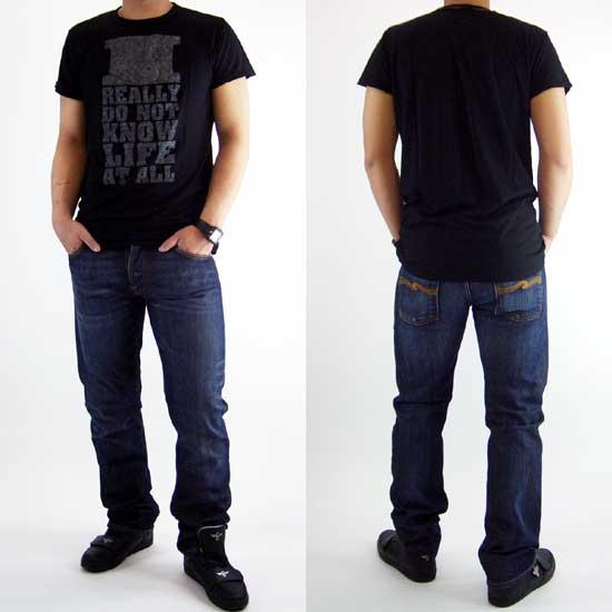 누 디 진 즈 가스통 라이프 S/S 티셔츠 블랙 Nudie Jeans GASTON LIFE S/S TEE Black